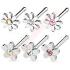 1 x 20G Flower Daisy Nose Stud Bar Ring Body Piercing Jewellery