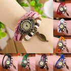 CHIC Women Fashion Handmade Leather Bracelet Leaf Decoration Quartz Wrist Watch