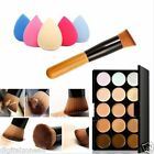 15 Colors Contour Face Cream Makeup Concealer Palette Puff Powder Sponge Brush D