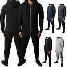 Mens Fit Tracksuit Pique Slim Set Hoodie Zip Top Bottoms Jogging Gym Trackies
