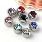 8pc Mix Czech Crystal Ball Top Beads Stainless Steel Accessory For Body Piercing