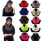 Women Pashmina Blend Warm Ribbed Cable Knit Infinity Loop Scarf Circle Neck Cowl