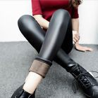 Plus Size Womens Black Fleece PU Leather Leggings Stretch Skinny Pants Trousers