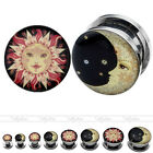 Stainless Steel Ear Flesh Tunnel Plug Screw Stretcher 4mm-16mm Sun Moon Expander