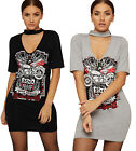 Womens Choker V Neck Dress Top Ladies Slogan Graphic Print Short Sleeve Stretch