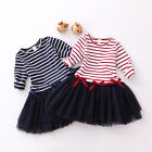 1pc Girl Kids Children Baby Stripe Dress Tutu Clothing Outfit 2-7 Years