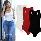 NEW LADIES WOMEN SLEEVELESS BODYCON PLAIN TOPS VEST BODYSUIT BLOUSE ROMPER