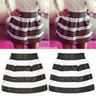 Women Lady Thick Stripe Pleated High Waist Skater Rivets Skirt Short Mini Skirt