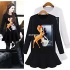Women's Fashion Ladies Long Sleeve Casual Animal Print T-shirt Dress Hot EN24H