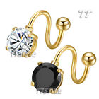 TT 14K Gold GP Round S Belly Bar Ring Body Piecing Clear/Black (BLS06)