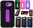 For Samsung Galaxy J3 Emerge IMPACT Hard Rubber Case Phone Cover Kickstand