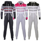 Mens, Womens Aztec Printed Hooded Jumpsuit Two Tone White Zip Unisex Onesie Mens