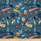 ROCKET AGE MAIN BLUE SPACE ASTRONAUT RILEY BLAKE FLANNEL FABRIC *Free Oz Post