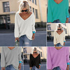 CH Women Casual Long Sleeve Knitted Pullover Loose Sweater Jumper Tops Knitwear
