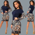 Women Dress Cocktail Party Bodycon Slim Long Sleeve Midi Ladies Dress Size 6-14