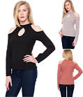 Womens Knit Ribbed Turtle Neck Keyhole Cut Off Shoulder Long Sleeve Ladies Top