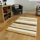 Small Large Striped Modern Rugs Beige Easy Clean Living Room Rug Soft Warm Mats