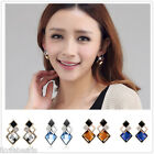 Fashion Womens Jewelry Rhombus Crystal Rhinestone Gemstone Ear Stud Earrings