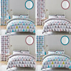 Catherine Lansfield Home Scandi Geo Duvet Cover/Curtains Bed Linen Bedding Set