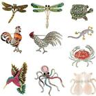 Glitter Rhinestone Animal Brooch Pins Lady Party Fashion Elegant Decorations
