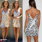 New Womens Backless Sequin Dress Ladies Evening Party Cocktail Short Mini Dress