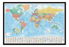 World Map With Facts & Flags Pinboard - Quality Framed Cork Board With Pins
