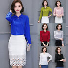 2017 Womens Ladies Chiffon Blouse Long Sleeve Shirt Casual Blouse Tops Fashion