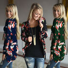 New Womens Sleeve Knitted Cardigan Loose Lace Outwear Jacket Flower Coat