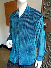 Men's Turqouise Striped Velvet Look Long Sleeve Button Down Shirt