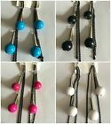 Retro Style Ball Drop & Chain Dangle Earrings 4 Colours to Choose From