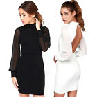 Women Casual Long Sleeve Backless Short Dress Cocktail Party Evening Bodycon