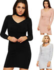 Womens Ruched Mini Party Dress Ladies Choker Neck Long Sleeve Bodycon Stretch
