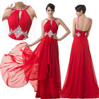 BEADED Womens Long Chiffon Prom Pageant Dress Formal Evening Party Ball Gown RED