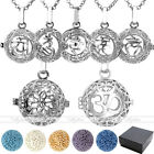 Chakra Lava Rock Stone Sanskrit OM Lotus Locket Pendant Chain Necklace Gift Set
