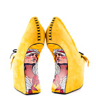 Taylor Says Rory Yellow Suede Native American Print Heel ...
