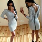 Sexy Women Striped Zip V Neck Long Sleeve Bodycon Party Club Pencil Dress S0BZ