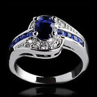 Fashion Women Ring Blue Sapphire White Gold Filled Engagement Jewelry Size 7 9