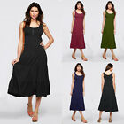 Women Casual Summer Cocktail Party Evening Cotton Maxi Long Dress Calf Length