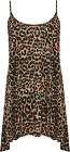 Womens Plus Leopard Vest Top Ladies Print Sleeveless Strappy Swing Animal 12-26