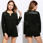 New Fashion Women Casual O-Neck Long Sleeve Synthetic Leather Patchwork N4U8