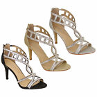 Ladies Sandals Kelsi Womens Ankle Glitter Diamante Pencil Heel Open Toe Shoes