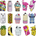 Trendy 3D Cartoon Back Cover Soft Silicone Case For Apple iPhone 7/7 Plus 6S 5S