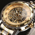 New Fashion Mens Hollow Automatic Mechanical Wrist Watch Stainless Steel Band