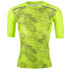 Mens adidas Techfit Chill Graphic T-Shirt In Lime-Crew Neck-Compression