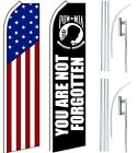 American Patriotic Military Swooper Flags & Poles 2 Pack-US Flag-POW MIA-Poles