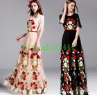 Women Embroider Ball Gown Cocktail Floral Net Lace Short Sleeves Long Maxi Dress