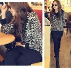 Women Leopard Print Zip Long Sleeve Hoodies Top Coat Jacket Outwear Dress DZ88