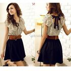 New Womens Short Sleeve Polka Dots Summer Chiffon Party Evening Mini Dress+ Belt