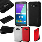 For Samsung Galaxy Amp Prime Mat Weave Hybrid Dual Layered Case Phone Cover