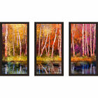 Colorful Autumn Trees' Framed Plexiglass Wall Art (Set of 3)
